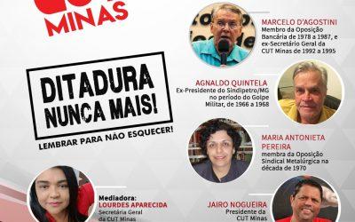 """LIVE da CUT Minas debate o tema """"Ditadura nunca mais"""""""